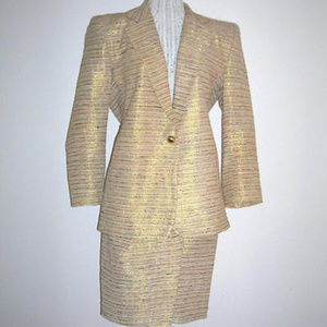 Icing Gold Lame Striped Raw Silk Jacket Skirt Suit